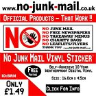 No Junk Mail Sign Letterbox Sticker™ / A Notice To UK Canvassers & Distributors.