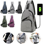 Fashion Men's Polyester Sling Bags Chest Pack Crossbody Bag with USB Charging US