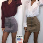 Women Ladies High Waisted Pencil Skirt Bodycon Suede Leather Mini Skirt Club Usa