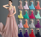 Formal V-neck Wedding Evening Ball Gown Part Prom Bridesmaid Dress Size 6-18++