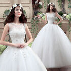 White Ivory Straps Wedding Dress Prom Bridal Gown Custom Size Lace Floral 2018