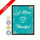 Eat Drink & Be Thankful Framed Canvas White Office Art Picture Print Gifts Ideas
