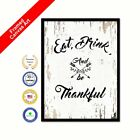 Eat Drink & Be Thankful Shabby Chic White Framed Canvas Picture Print Gift ideas