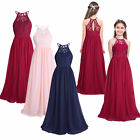 Girls Halter-Neck Floral Lace Junior Bridesmaid Dress Party Wedding Long Gown