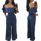 Womens Jumpsuits Falbala Off Shoulder Denim Long Pants Loose Casual Overall US