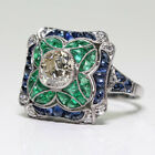 Vintage Art Deco Emerald Blue White Sapphire Silver Filled Wedding Jewelry Ring