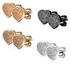 1 Pair Ear Studs Stainless Steel Earrings Glitter Hearts Glitter Heart Z483