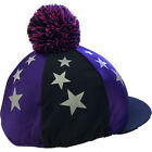Shires Stars Pom Unisex Safety Wear Hat Cover - Black Purple All Sizes