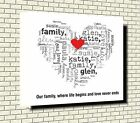 Heart personalised Box Canvas your names and words  with family quote - wall art