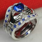 925 Silver Blue Sapphire Irish Claddagh Engagement Ring Wedding Three Ring Set