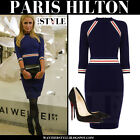 BRAND NEW Karen Millen Stripe BODYCON Knit Dress Navy SIZE XS -,L