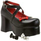 "Demonia Abbey-03 3 1/4"" Chunky Heel Platform Women Shoe Gothic Punk Loafer"