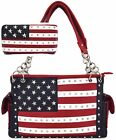 American Flag Stars and Stripes Women Country Shoulder Bag Handbags Wallet Set