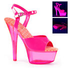Pleaser Kiss-209Uvt Women Neon Uv Reactive High Stiletto Heel Ankle Strap Sandal