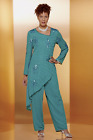 Ashro Formal Wedding Party Lily Beaded Dress Teal Green Pant Suit 6 10 12 14