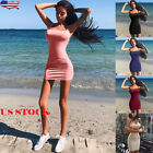 US Women Short Mini Dress Bodycon Bandage Sleeveless Evening
