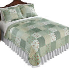sage green bedding - Mini Floral Sage Green Cottage Reversible Patchwork Quilt, by Collections Etc