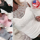USA HOT Women Sexy Solid Lace Cold Shoulder Long Sleeve Slim Blouse Top T-Shirt
