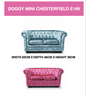 DOG BED, SOFA , CHESTERFIELD , CRUSHED VELVET , AQUA , PINK