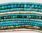 clearance-15.5''treated natural african turquoise round rondelle gemstone beads