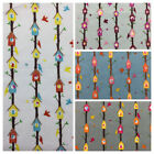 100% Cotton Fabric Metres Curtains Craft Patchwork Sewing Vintage Birdhouse Tree