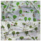 100% Cotton Fabric Metres Curtain Craft Patchwork Sewing Forest Woodland Animals