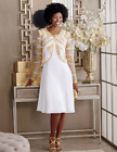 Marquita Jacket Dress Ashro Formal Holiday Church White Gold 8 10 12 14 16