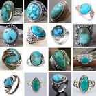 Tibetan 925 Sterling Silver Turquoise Rings Gems Wedding Jewelry Anniversary Hot