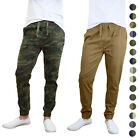 2pack Galaxy by Harvic Men's Cotton Stretch Twill Jogger- Camo and Solid Color