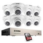 ZOSI 8CH 1080P Hybrid DVR 2MP Outdoor Dome Day Night Security Camera System 1TB