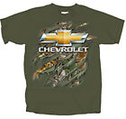GM / Chevrolet Realtree Bowtie Rip MILITARY GREEN Adult T-Shirt corvette camaro