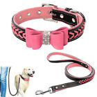 Pink Bling Braided Leather Dog Collars and Leads Leash for Small Large Dogs XS-L
