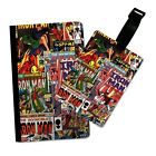 COMIC BOOK COLLAGE FLIP PASSPORT AND LUGGAGE TAG HOLDER TRAVEL COVER