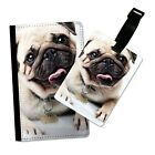 CUTE PUG DOG TONGUE OUT FLIP PASSPORT AND LUGGAGE TAG HOLDER TRAVEL COVER