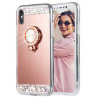 Luxury Bling Diamonds TPU Ring Stand Mirror Case Cover For Apple iPhone 7 8 Plus