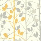 Arthouse Mustard Yellow Grey Woodland Forest Trees Branches Wallpaper 630705