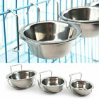 UK Pet Dog Stainless Steel Hanging Food Water Bowl Feeder Cage Cup Coop Silver