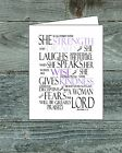 Proverbs 31:25 , She is clothed,  Bible wall art print , giclee print, christian
