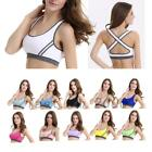 Women Stretch Workout Tank Top Fitness Yoga Padded Sports Bra Criss-cross Strap