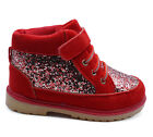 GIRLS KIDS CUTE GLITTER RED ANKLE LACE-UP SHOES WARM WINTER BOOTIES SIZES 8-13