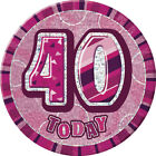 Glitz Pink 40th Birthday Party Tableware Decoration Plates Banners Candle Age