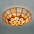 Tiffany Stained Glass Ceiling Lighting Fixture Flush Mount Vintage Light CL294