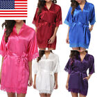 US Women robe Silk Satin Robes Wedding Bridesmaid Bride Gown kimono Solid robe