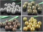 Silver、Bronze、Copper 、Gold 4mm,6mm,8mm,10mm Round Filigree Spacer Beads