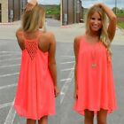 Women Summer Chiffon Dress Sleeveless Boho Beach Sundress Casual Party Wear