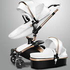 stroller 2 in 1 - Baby Stroller 2 in 1 Faux Leather Carriage Infant Travel Foldable Pram Pushchair
