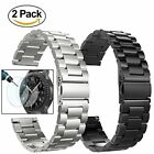 Gear S3 Watch Bands, 22mm Solid Stainless Steel Replacement Strap-Silver & Black