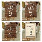 Personalised Wedding Table Number Cards