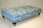 DESIGNER LARGE FOOTSTOOL - CLASSIC FLORAL DUCK EGG FABRIC Choice of size / leg