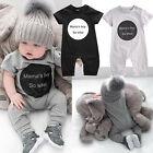 UK Newborn Baby Mama's Boy Cotton Romper Jumpsuit Outfits Short Sleeve Clothes